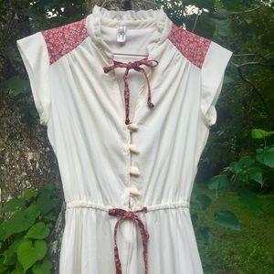 Vintage 1970s white polyester prairie dress